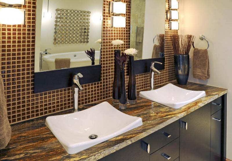 Golden Thunder Vanity with a Glass Mosaic backsplash